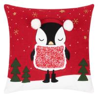 Weihnachtskissenbezug aus Baumwolle, rot, schwarz, weiß und grün bedruckt 40x40