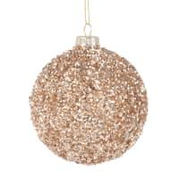 Set aus 6 - Weihnachtskugel aus Glas mit goldfarbenen Perlen