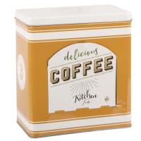 Weiße und currygelbe Kaffeekapselbox aus Metall
