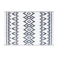 Weißer Outdoor-Teppich mit blauen grafischen Motiven 180x270