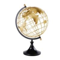 Wereldbol van goudkleurig en zwart metaal Elvis
