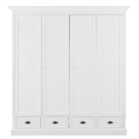 NEWPORT - White 4-Door 4-Drawer Wardrobe