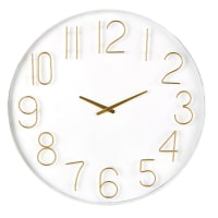 White and Gold Metal Clock D80 Charlize