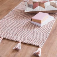 White and Gold Woven Cotton Jacquard Rug 60x90