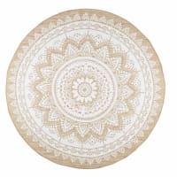 White Cotton and Jute Round Rug D180 Mandala