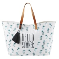 White Cotton Beach Bag with Print and Brown Leather Handles Hello Summer