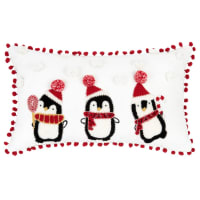 White Cotton Christmas Cushion Cover with Embroidered Penguins and Faux Fur 30x50cm