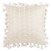 White Cotton Cushion Cover with Tassels 40x40 Sitra