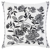 White Cotton Cushion with Black Floral Print 45x45 Melisse