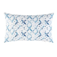 White Outdoor Cushion with Blue Graphic Motifs 30x50