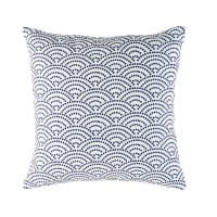 White Outdoor Cushion with Blue Graphic Motifs 45x45 Tinos