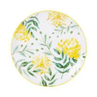 White Porcelain Dessert Plate with Flower Print Colette