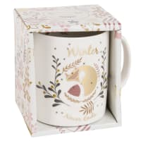 White Porcelain Mug with Print Fox