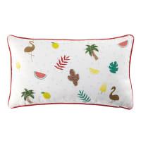 White Tropical Print Cushion 30 x 50 Fruity