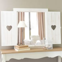 Window Mirror with Hearts, Whitewashed 63x71 Lucy