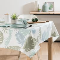 Wipe-clean Ecru Cotton Tablecloth with Foliage Print 140 x 250 Figlia