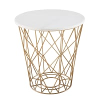 Wire End Table with White Marble Top Elisabeth