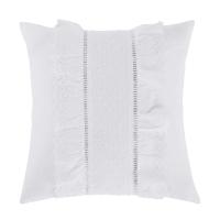 BIANCA - Wit katoenen kussen met ruches en veren 45 x 45 cm
