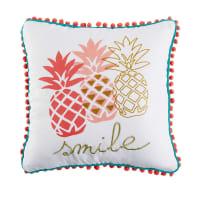 Wit kussen met ananas print 40x40 Tropica