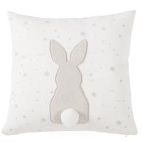 Wit kussen van katoen met taupe konijn Panpan
