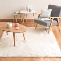 Wit  tapijt in imitatiebont 160x230 Oumka