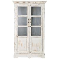 AVIGNON - Witte mangohouten vitrinekast met verweerd effect B 105 cm