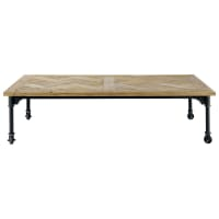 Wood and metal coffee table on castors W 160cm Mirabeau