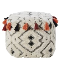 Wool and Cotton Pouffe with Tassels Carre