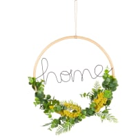 Word and Artificial Leaf Wreath Wall Art 30x30 Mimosas