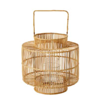 Woven Bamboo and Glass Lantern Manille