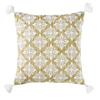 Woven Beige Outdoor Cushion with Embroidered Graphic Design 45x45 Veda