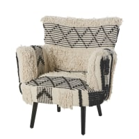 Woven Cotton Armchair with Ivory and Black Prints Berbère