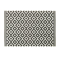 ZARIA - Woven Polypropylene Outdoor Rug with Black and White Graphic Print 120x180