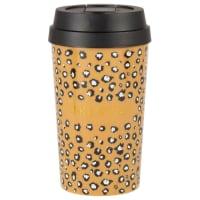Set of 2 - Yellow animal print travel mug
