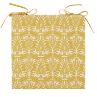 Yellow Cotton Chair Pad with White Graphic Print Sutra