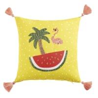 Yellow Cushion with Pom Poms 40 x 40 Tropicool