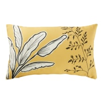 Yellow Outdoor Cushion with Plant Print 30x50 Chobe