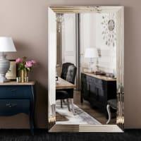 FIRENZE - Zilverkleurige spiegel met geslepen randen 200x120