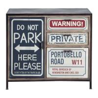 Zwart bedrukt metalen en houten industrieel dressoir B 90 cm Park