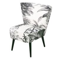 Zwart en witte fauteuil met jungleprint Scandinave