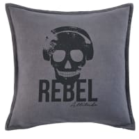 Zwart katoenen kussen met tweekleurige print 45x45 Rebel