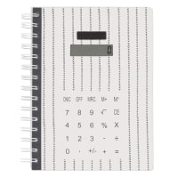 Zwart notitieboekje met rekenmachine