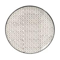 CHIANG MAI - Set van 6 - Zwart/wit aardewerken dessertbord met micromotief D 21 cm