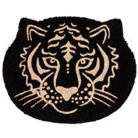 CAMERON - Zwarte en goudkleurige deurmat met tijgerkop