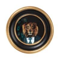 VICTORIA - Zwarte en goudkleurige ronde fotokader uit polyhars 12 x 12 cm