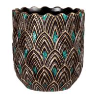PEACOCK - Zwarte sierpot van gres met goudkleurig en smaragdgroen reliëfmotief H16