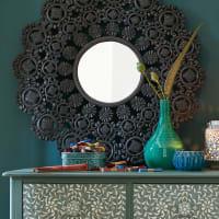 Zwarte uitgehouwen spiegel D91 Emilija