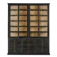 Zwarte vitrinekast van gerecycled grenen met 4 deurtjes en 12 lades Moliere