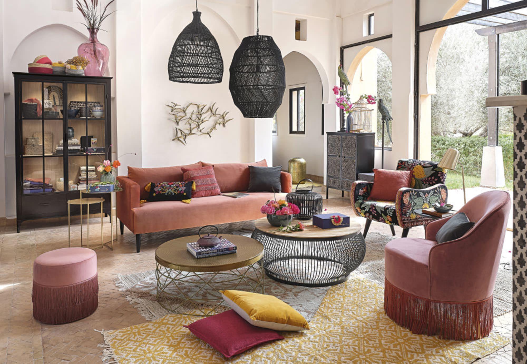 Canapé 3 places en velours rose blush Giulia classique ou en canapé d'angle