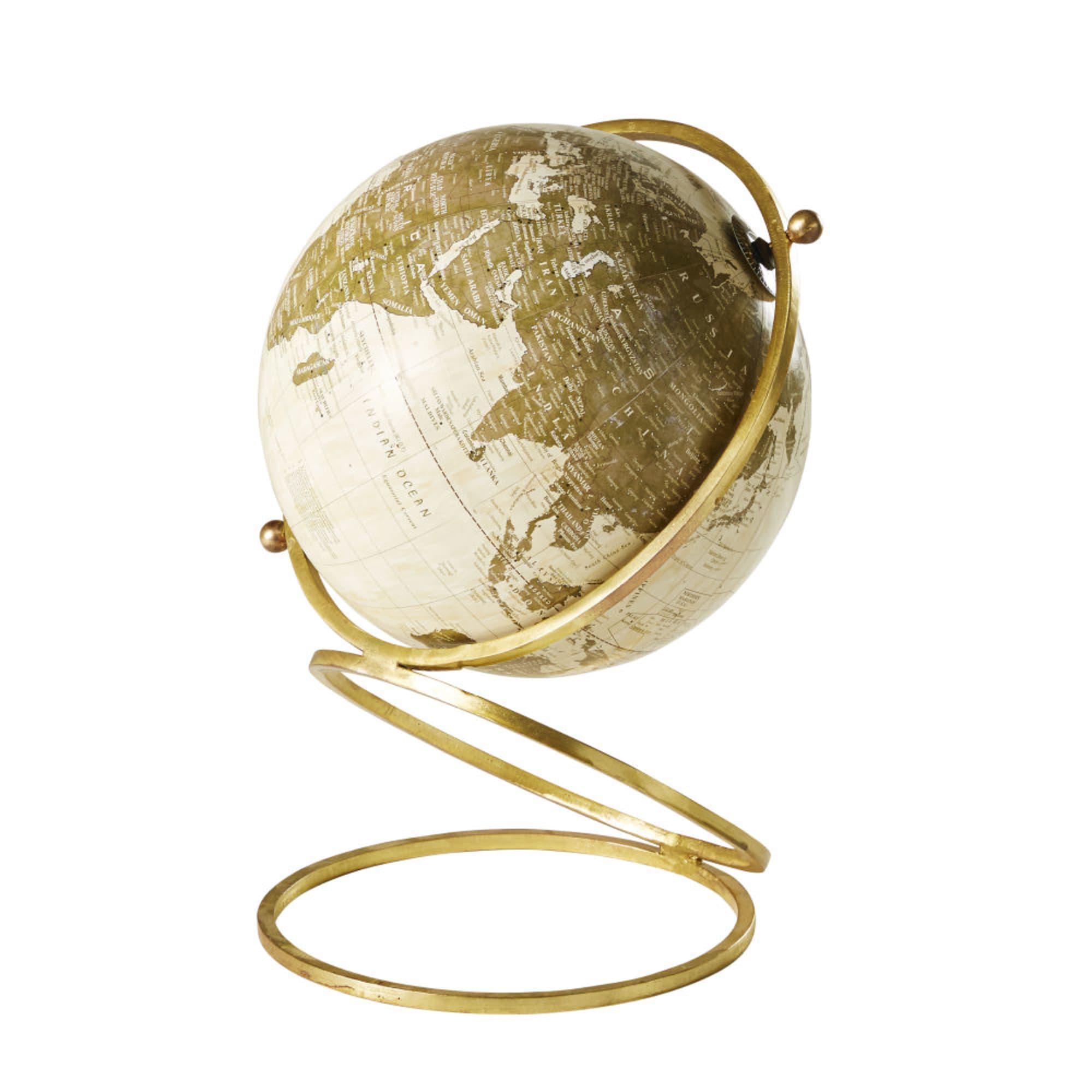 Globe terrestre carte du monde en métal doré